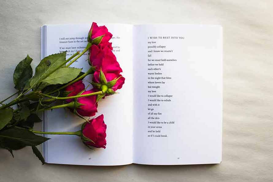 roses on a poetry book