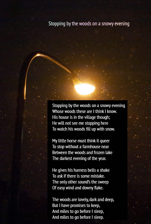 Stopping by the woods on a snowy evening. Robert Frost Best Poems