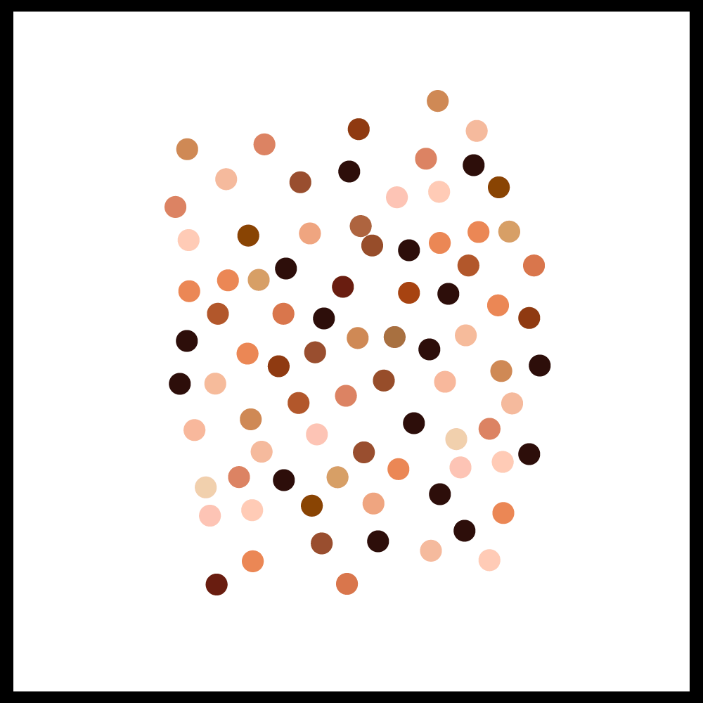 cluster of dots of different color representing crowd of people belonging to difference races